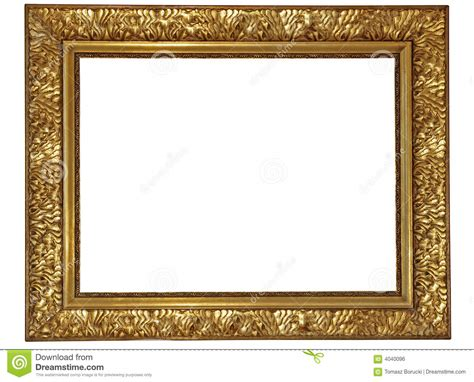 Gold plated wooden frame stock photo