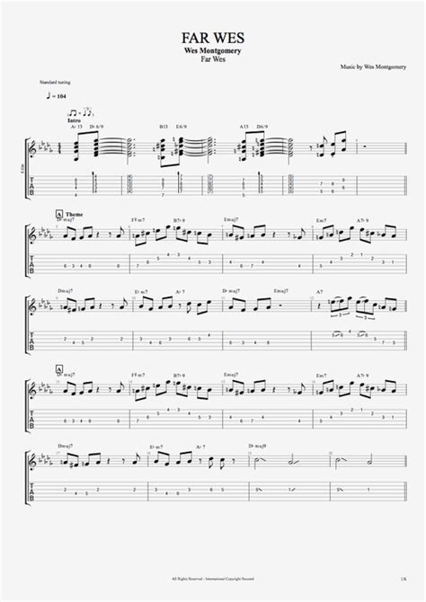 Far Wes by Wes Montgomery - Full Score Guitar Pro Tab